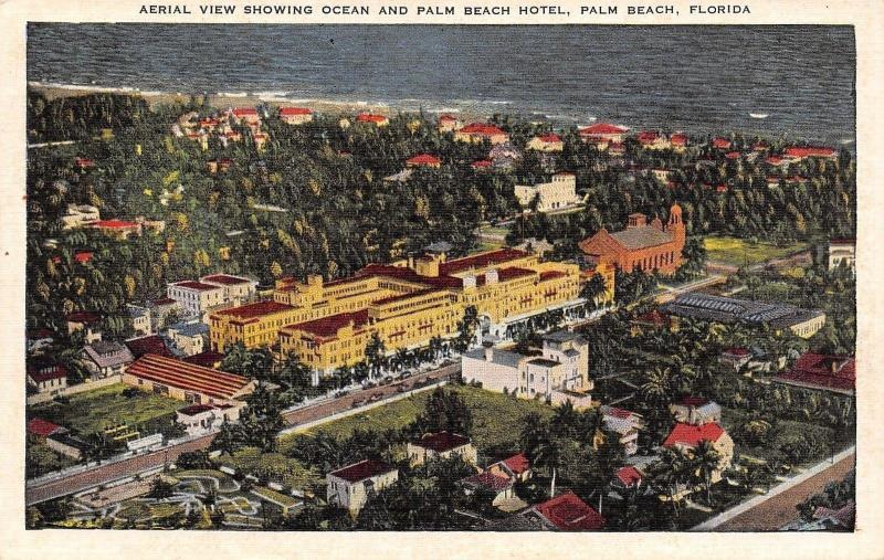 Palm Beach Florida~Aerial View Hotel~City Panorama to Ocean~1940s Linen Postcard
