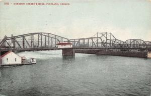 Portland Oregon~Morrison Street Bridge~Tug Boat 1910 Postcard
