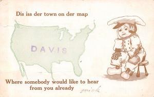Der Town on Der Map iss Davis Illinois~United States~Sad Boy~1913 Postcard