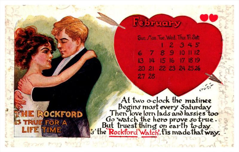 10967 Valentine   Rockford Watch  Febuary Heart Calender, Haley & Gates J...