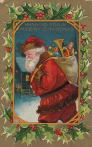 CHRISTMAS, 1909 ; Santa Claus carrying toys