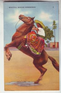 P1113 1940 stamped beautiful mexican horsewoman on jumping horse