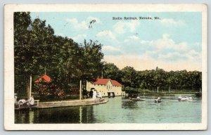 Nevada Missouri~Radio Springs Bath & Boat House~Rowboats~Ladies on Walk~1925