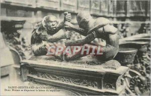 Postcard Old Saint Bertrand de Comminges two monks fighting over the baton of...