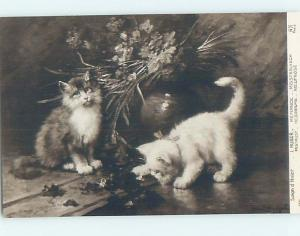 Pre-Linen foreign signed HUBER - KITTEN CATS STANDING BY THE FLOWERS HL9441