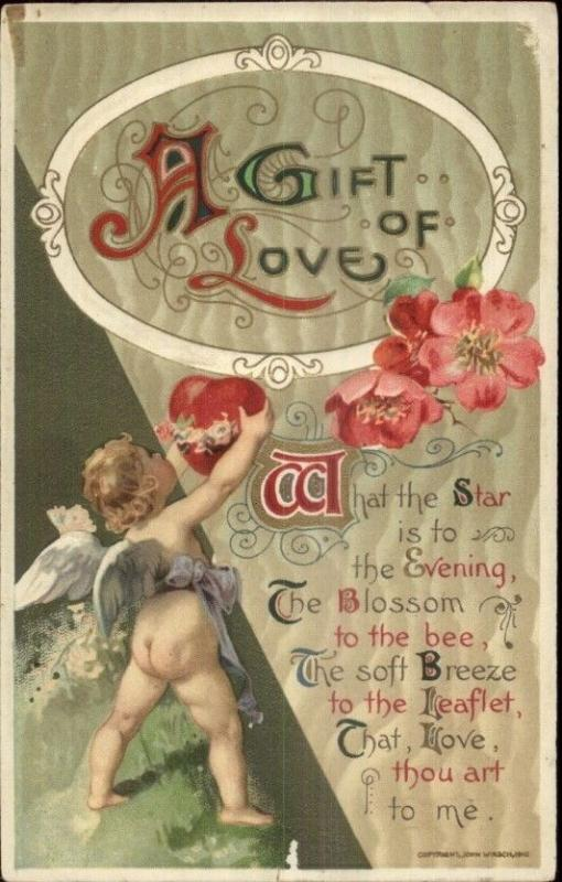 Valentine - Adorable Cupid Hanging Heart - John Winsch c1910 Postcard