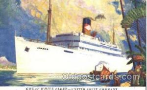 The Great White Fleet Jamaica Steamer Ship Ships Old Vintage Postcard Postc...