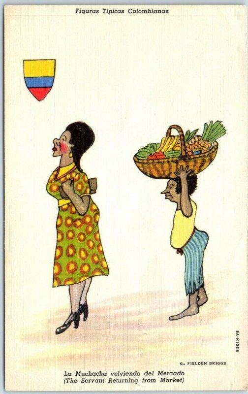 1940s COLOMBIA Linen Postcard Figuras Tipicas Servant / Market Artist Briggs