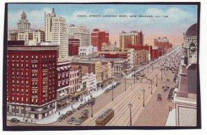 P1618 1939 postcard birds eye view busy canal st. view new orleans LA