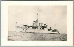 MILITARY SHIP U.SS. Jr. D. EDWARDS ANTIQUE REAL PHOTO POSTCARD RPPC