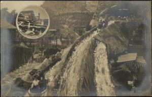 Crystal Palace Amusement Park Water Slide - London? c1910 Real Photo Postcard