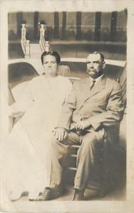 Peoria IL Real Photo Postcard~Mr/Mrs Alpheus Dyckman~Old Newlyweds~Midget Studio