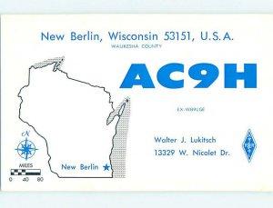 Pre-1980 RADIO CARD - New Berlin - Near Waukesha & Milwaukee WI AH2285