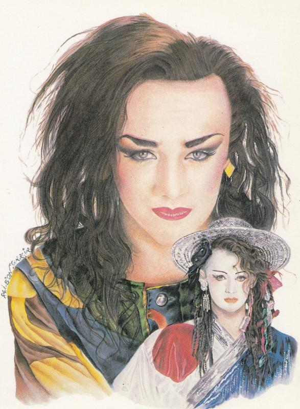 Boy George of Culture Club Leon Garcia Painting Postcard