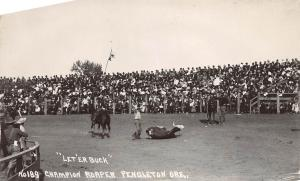 B21/ Rodeo Cowboy Horses Real Photo RPPC Postcard 1938 Pendleton Oregon 10