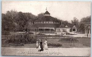 1900s Rock Springs Park, West Virginia Postcard MERRY-GO-ROUND Amusement Park