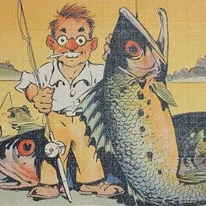 Postcard Where the fish are 1940 Bay City Michigan Humor Funny Comic 82