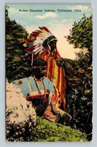 Tahlequah OK-Oklahoma, Native American Cherokee Indians, Vintage c1937 Postcard