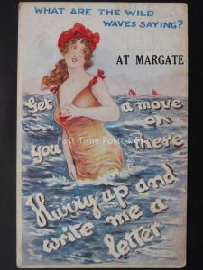 Kent MARGATE What Are The Wild Waves Saying c1921 Postcard by W.B. 359