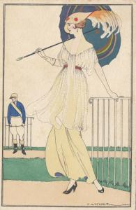 ART DECO ; Female with parasol & hat, Polo Player, PU-1910