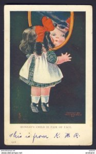 Monday's Child Is Fair of Face, 1909 - JS artist - girl looking into mirror