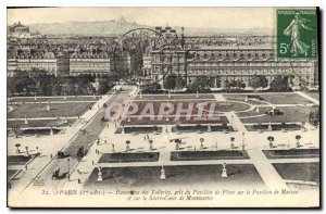 Old Postcard Panorama Paris Tuileries took the Pavillon de Flore on the Pavil...