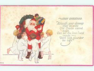 Pre-Linen Christmas KIDS DANCING AROUND SANTA CLAUS AB4503