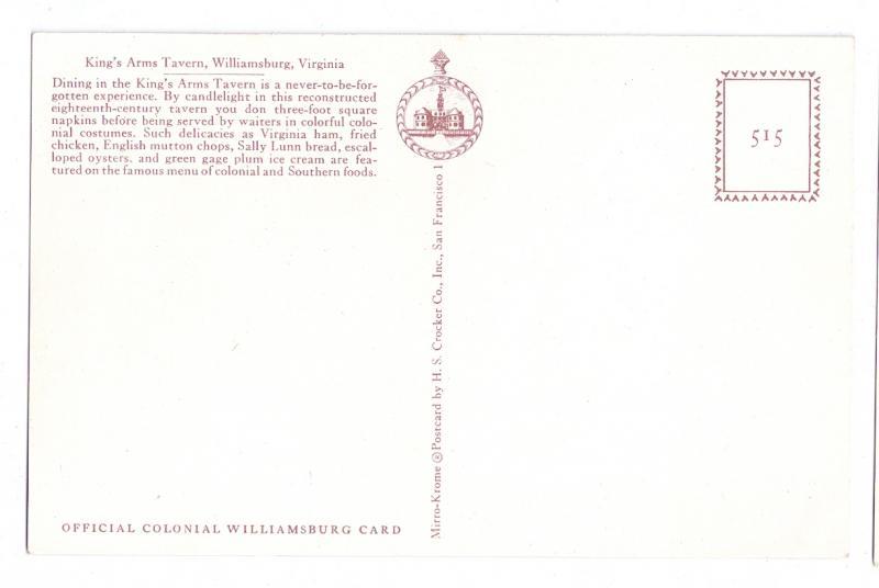 Williamsburg VA King's Arms Tavern Family Dinner Postcard