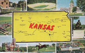 Map Of Kansas With Multi View 1950