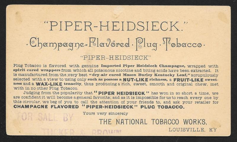 VICTORIAN TRADE CARD Piper Heidsieck Champagne Plug Tobacco Fancy Lady Grapes