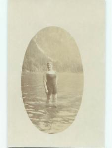 rppc c1910 Risque WOMAN IN VINTAGE SWIMSUIT BATHING SUIT AC8448