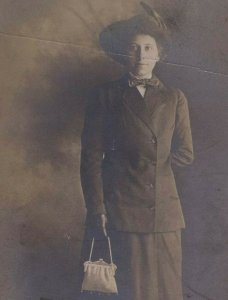 Pretty Woman with Large Hat and Purse RPPC Portrait Real Photo Postcard
