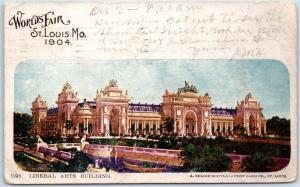 1904 St. Louis World's Fair Expo Postcard LIBERAL ARTS BUILDING w/ MO Cancel