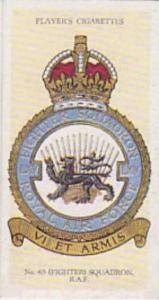 Player Vintage Cigarette Card R A F Badges N0 37 No 65 Fighter Squadron  1937
