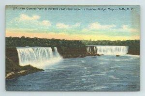 Niagara Falls From Center of Rainbow Bridge New York Postcard