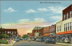 Harrisburg IL Main St. Stores Cars Linen Postcard