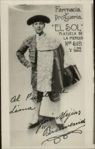Boy Matador Bull Fighting Lima - Jose Mejias El Sol Drug Store Advertising RPPC