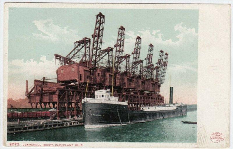 CLEVELAND, Ohio, 1900-10s; Clamshell Hoists, Ship Spokane