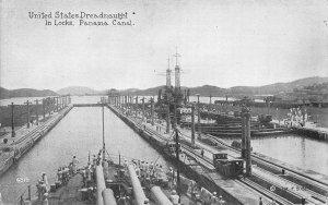 United States Dreadnaught In Locks, Panama Canal, Early Postcard, Unused