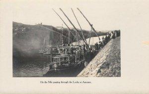 RPPC Nile River Locks, Assouan, Egypt, Africa Aswan ca 1910s Vintage Postcard