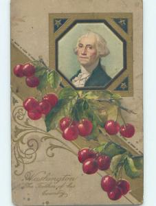 Pre-Linen patriotic GEORGE WASHINGTON WITH LARGE CHERRY FRUIT HL6554