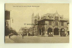 cu1500 - Town Hall & St John's Church , Peterborough Northamptonshire  postcard