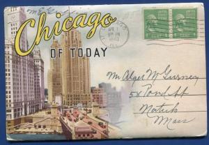 Chicago of Today 1930s postcard folder foldout