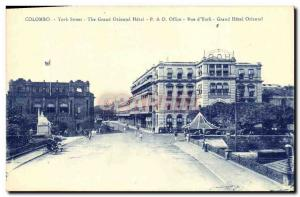 Old Postcard Colombo Street Youk The Grand Oriental Hotel P O Street Office o...