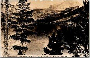 Vintage Montana RPPC Real Photo Postcard ISLAND LAKE Via Red Lodge c1930s