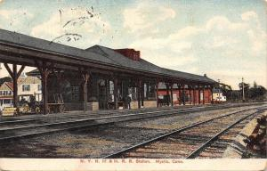 Mystic Connecticut~NYNH&HRR Railroad Station~Depot~Tracks~Houses~1907 PC