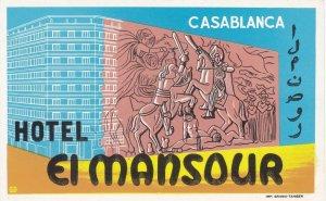 Morocco Casablanca Hotel Mansour Vintage Luggage Label sk3548