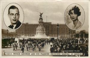 Prince George and his fiancee princess Marina of Greece royalty postcard