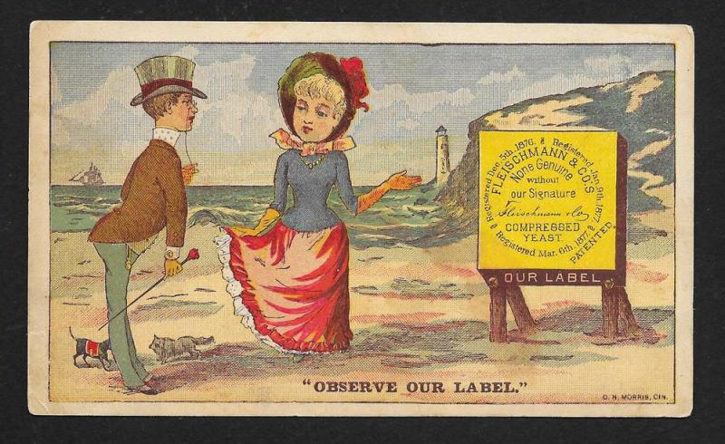 VICTORIAN TRADE CARD Fleischmann Yeast Observe Our Label