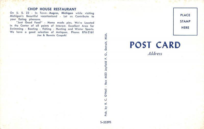 Augres Michigan~Chop House Restaurant~US 23~1950s Postcard / HipPostcard